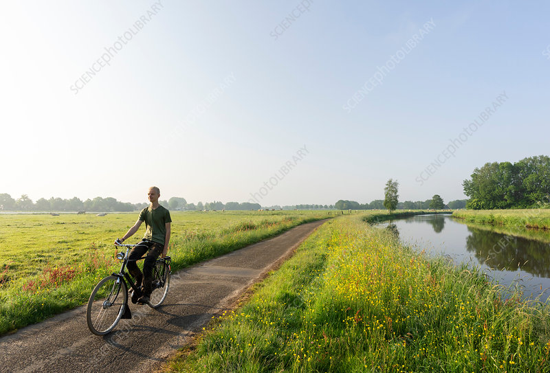 Boy cycling along Mark river in morning, Netherlands