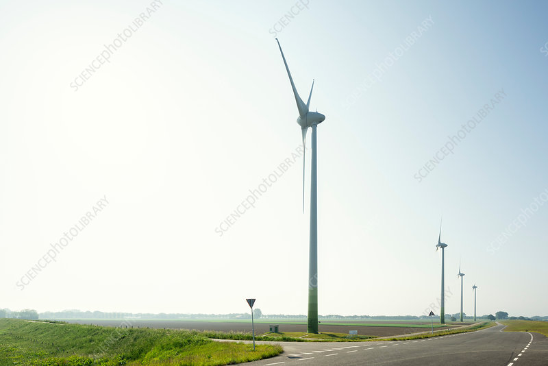 Windfarm on spring morning, Netherlands