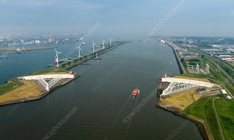 The Maeslantkering flood barrier, Netherlands
