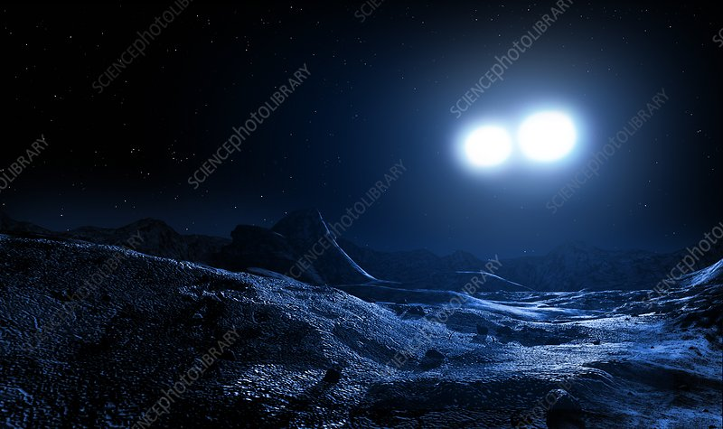 Contact binary stars seen from a planet, illustration