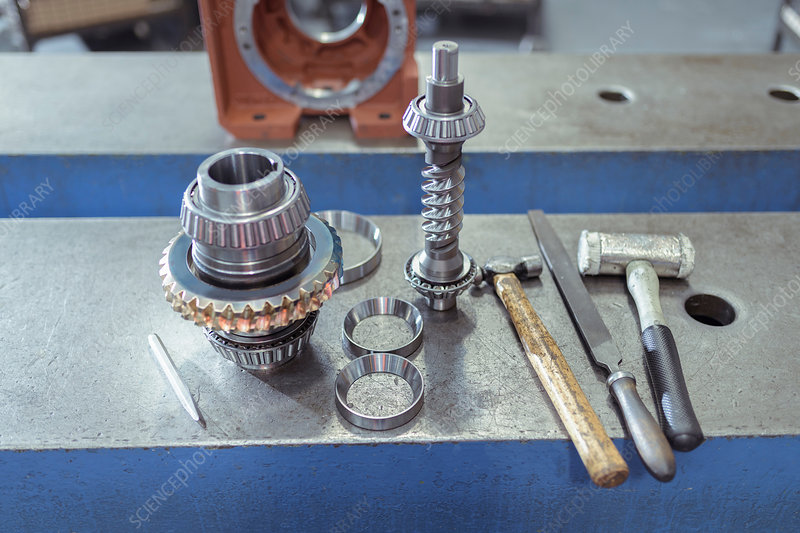 Parts and tools in gearbox factory