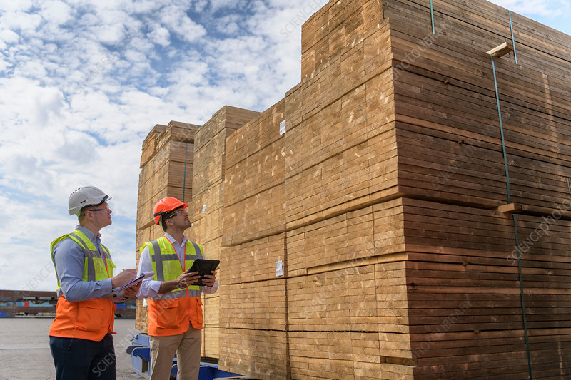 Workers with stacks of timber in storage at port