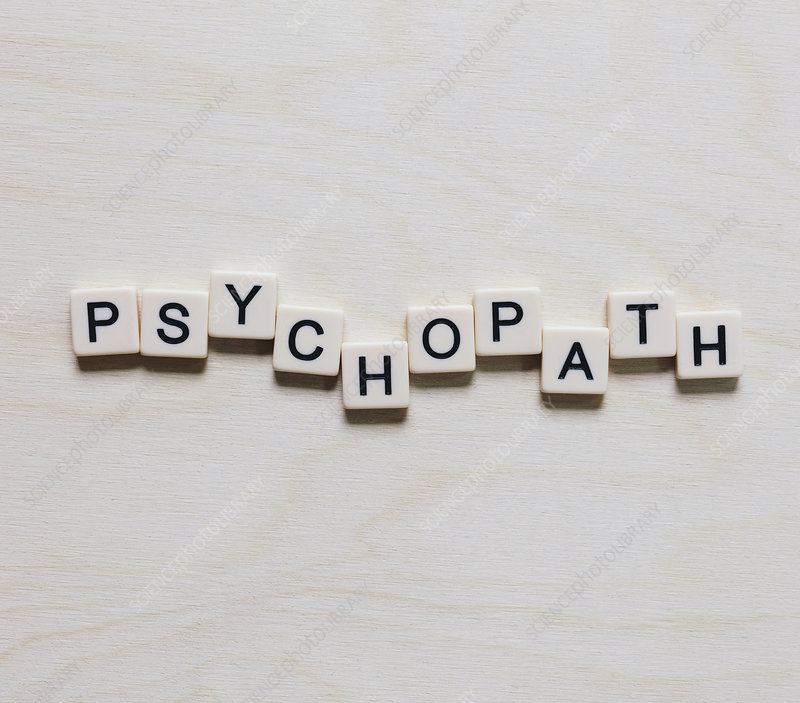 Letter blocks spelling the word PSYCHOPATH