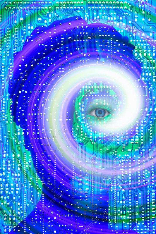 Artificial intelligence surveillance, illustration