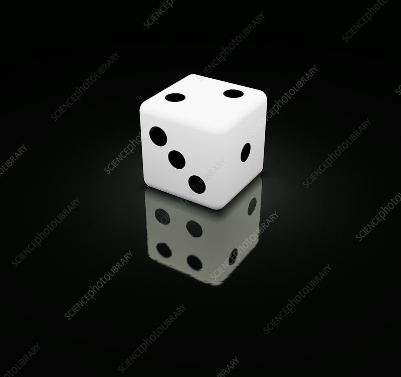 Dice with false reflections, illustration