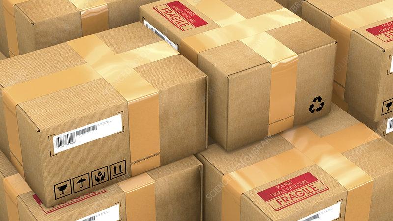 Stack of parcels, illustration