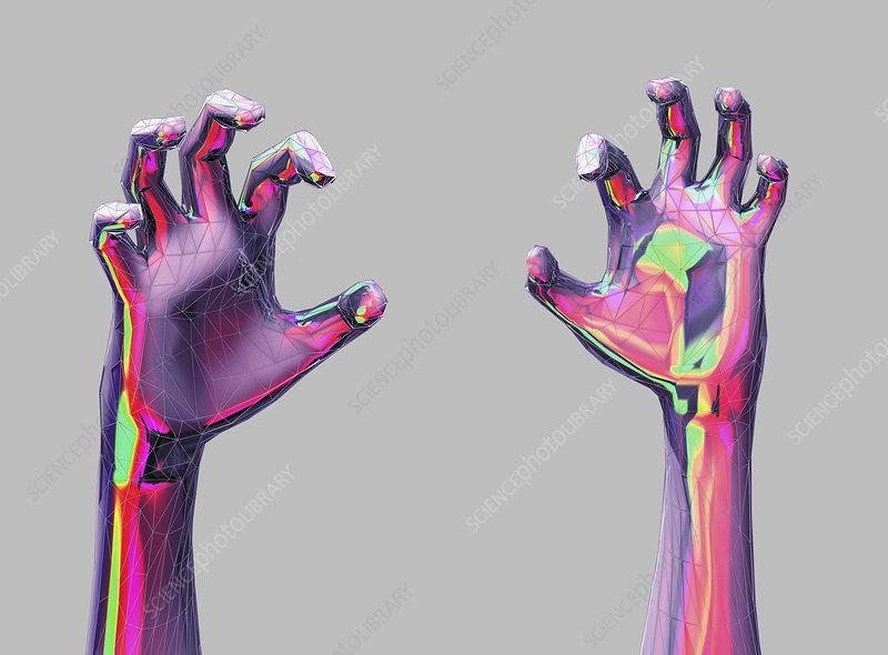 Cramping hands, illustration