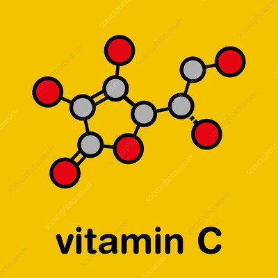 Vitamin C molecule, illustration