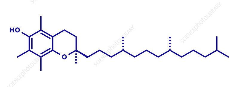 Vitamin E molecule, illustration