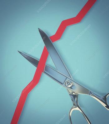 Scissors cutting a rising line graph, illustration