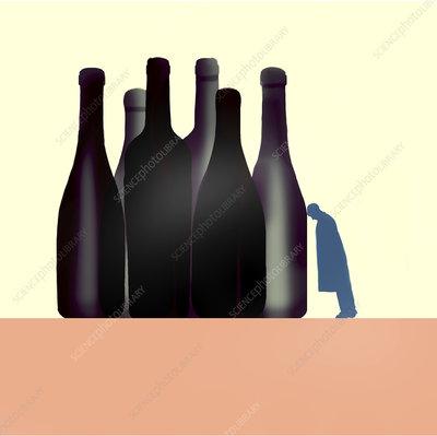 Alcoholism, conceptual illustration