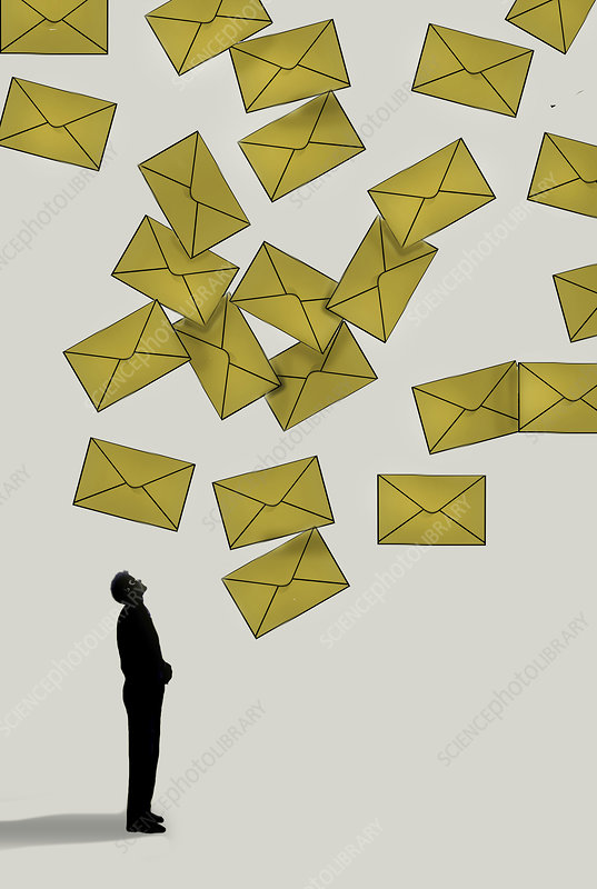 Avalanche of mail, conceptual illustration