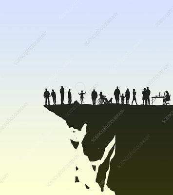Crumbling society, conceptual illustration