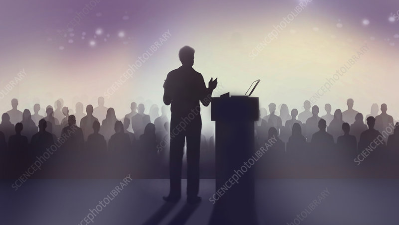 Man speaking in front of a large audience, illustration