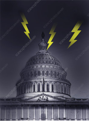 Political storm, conceptual illustration