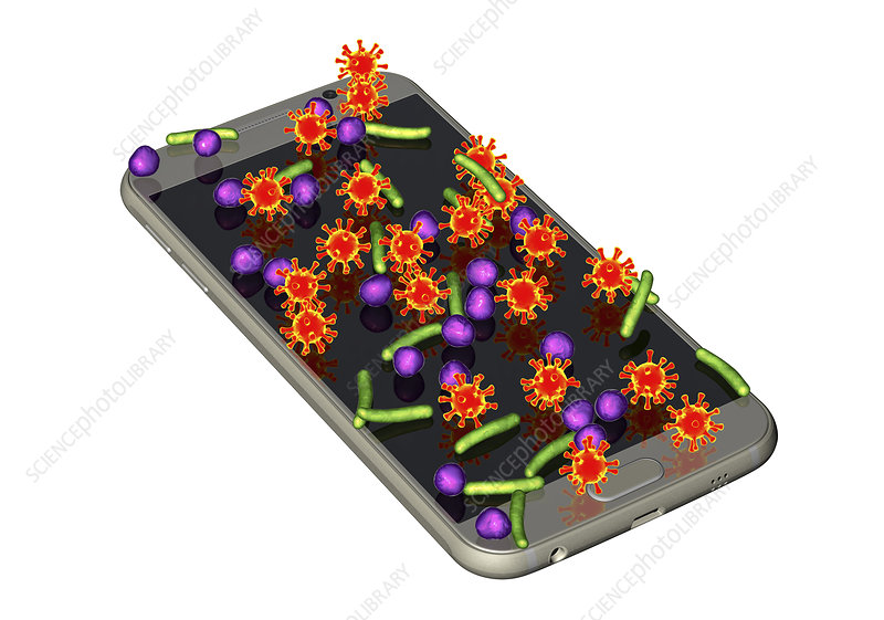 Microbes found on mobile phone, conceptual illustration