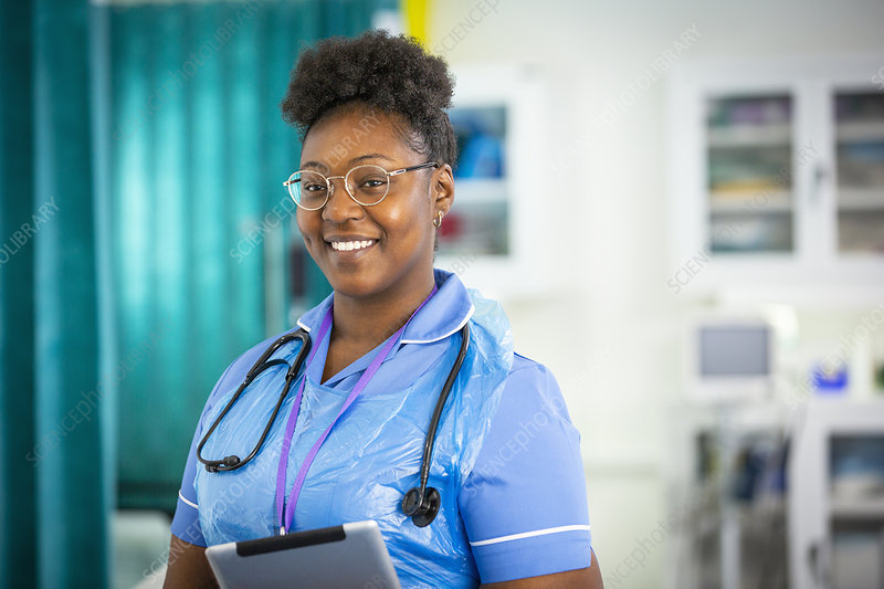 Portrait female nurse with digital tablet in hospital