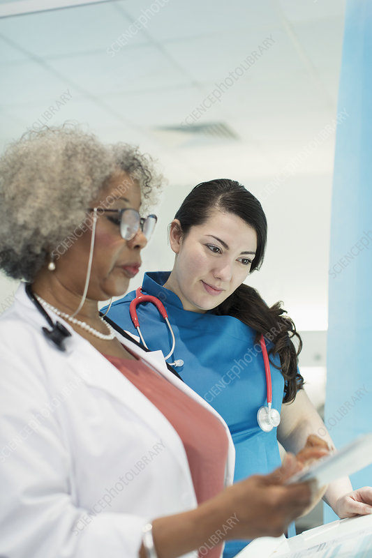 Female doctor and nurse with tablet talking in hospital
