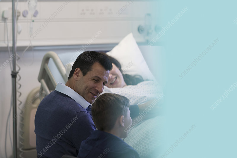 Family visiting patient in hospital room