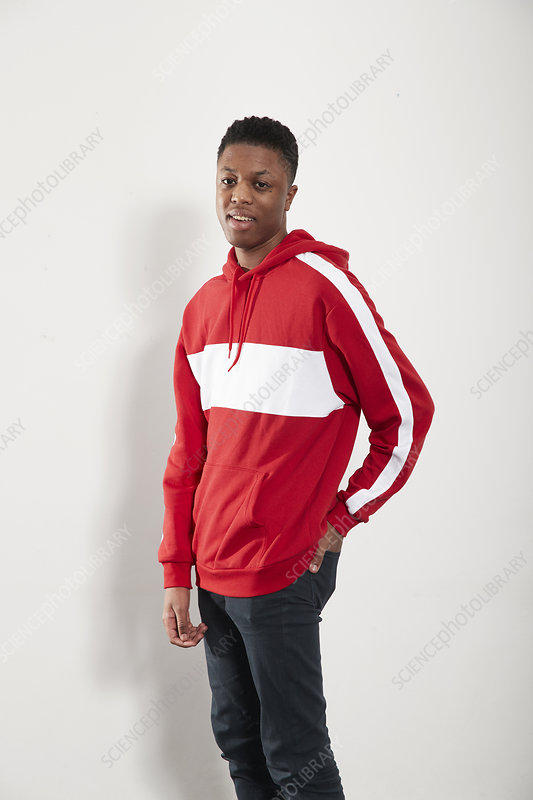 Portrait young man in hoody