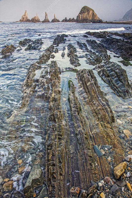 Rocky ocean beach Gueira Beach Asturias Spain