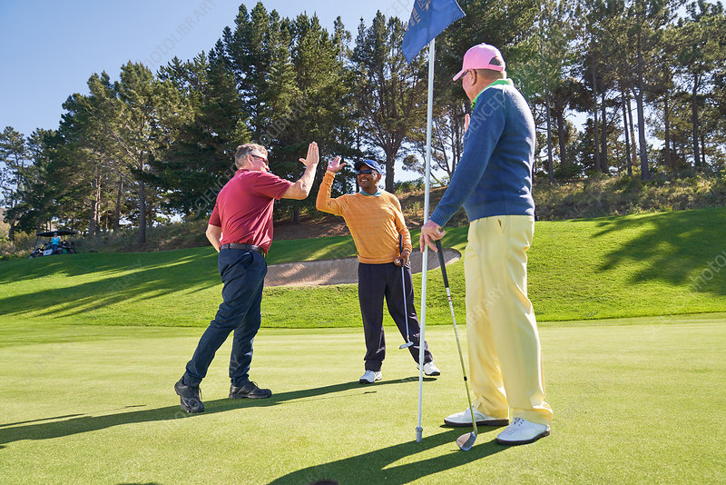 Male friends high fiving putting green