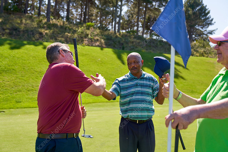 Male golfers shaking hands at pin on sunny golf course