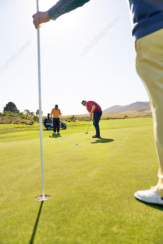 Male golfer putting towards pin and hole