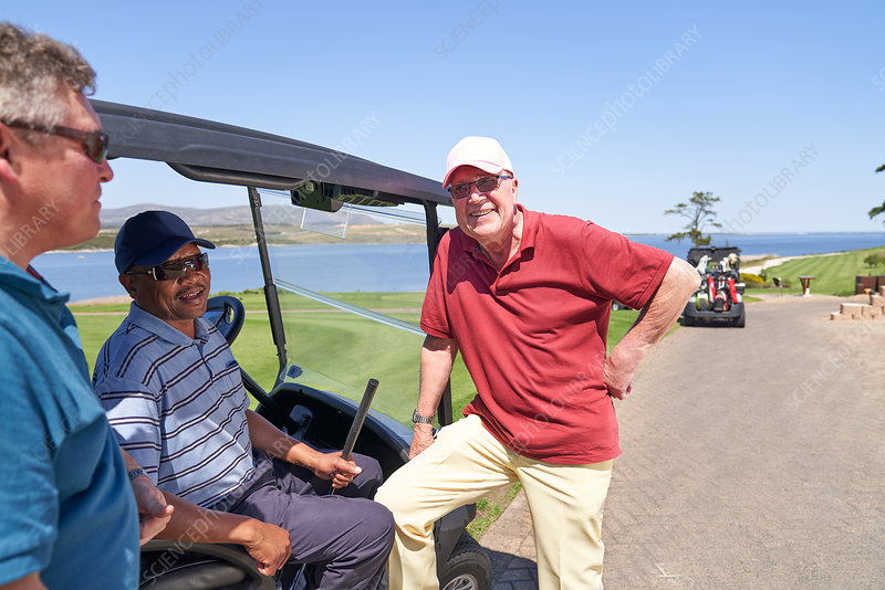 Happy golfer friends talking at golf cart on sunny course