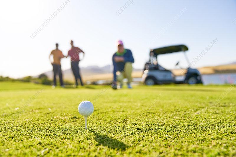 Golf ball on tee at sunny tee box
