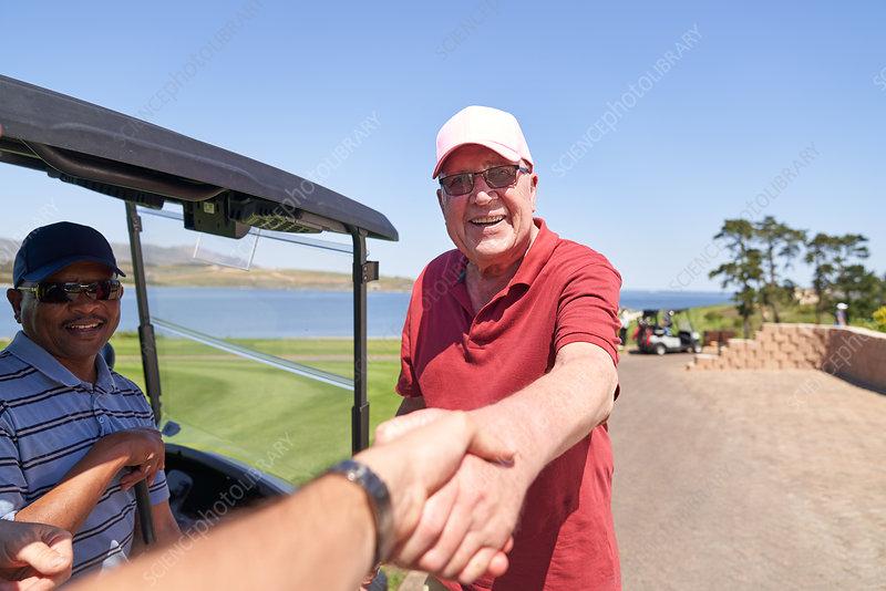 Personal perspective golfers handshaking