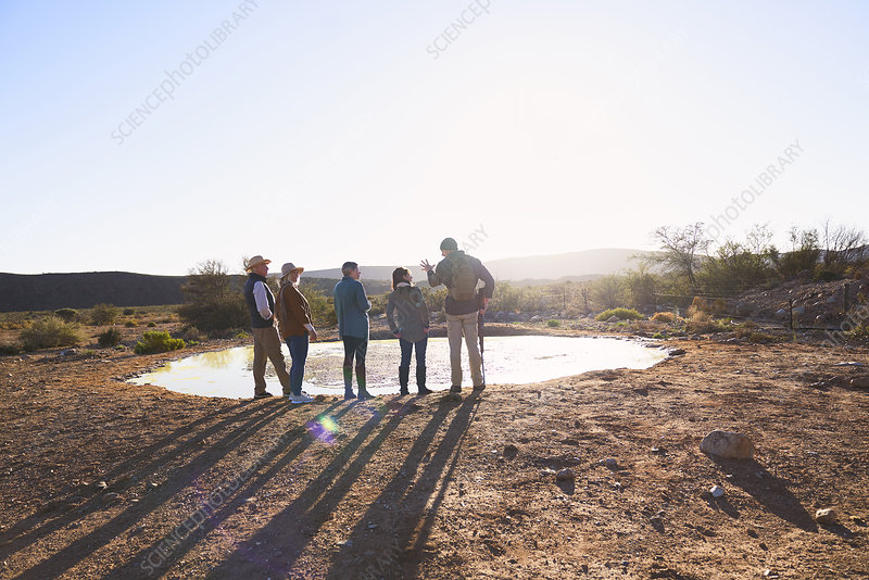 Guide and group at water in sunny grassland South Africa