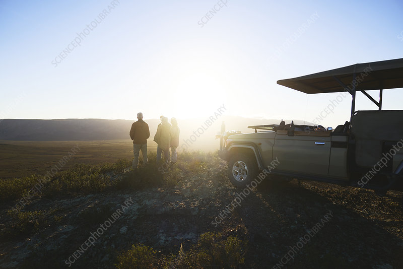 Group and off-road vehicle on hill at sunrise South Africa