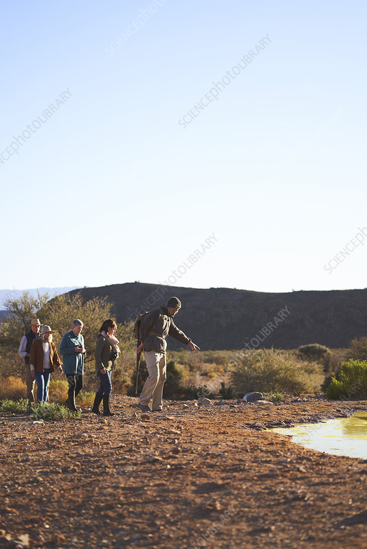 Guide leading group on sunny wildlife reserve South Africa