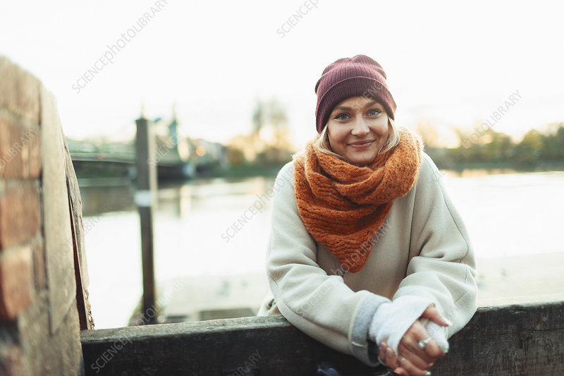 Woman in stocking cap and scarf