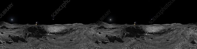 VR mage of lunar lander on the moon