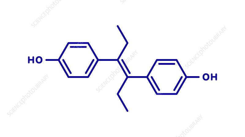 Diethylstilbestrol synthetic estrogen molecule, illustration