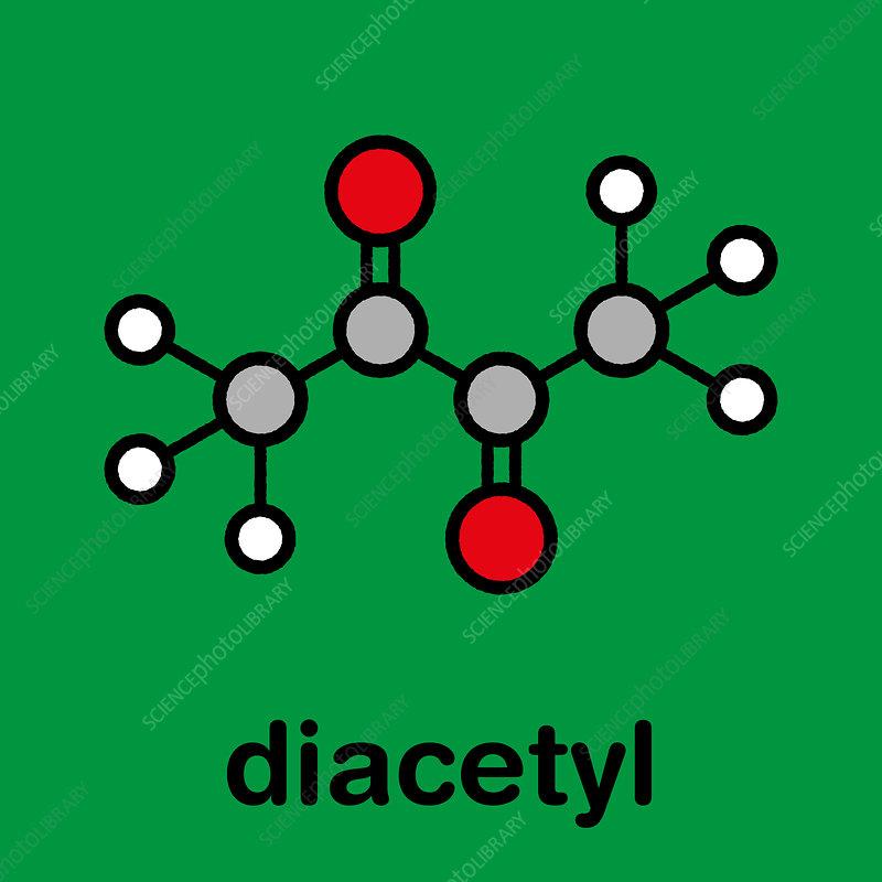 Diacetyl molecule, illustration