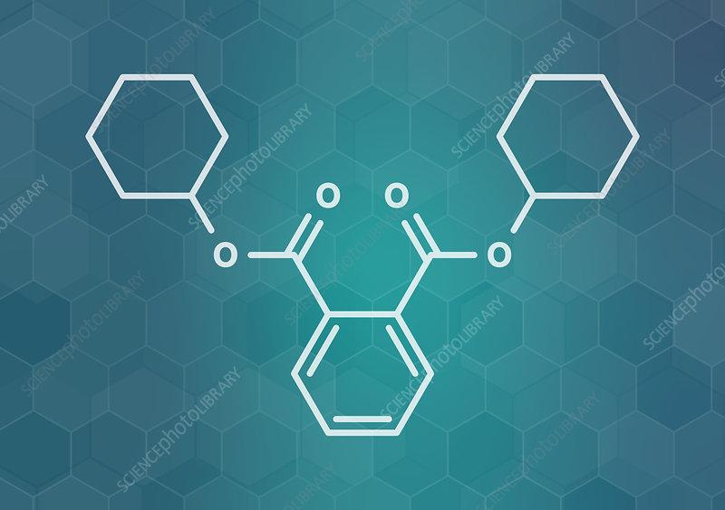 Dicyclohexyl phthalate plasticizer molecule, illustration