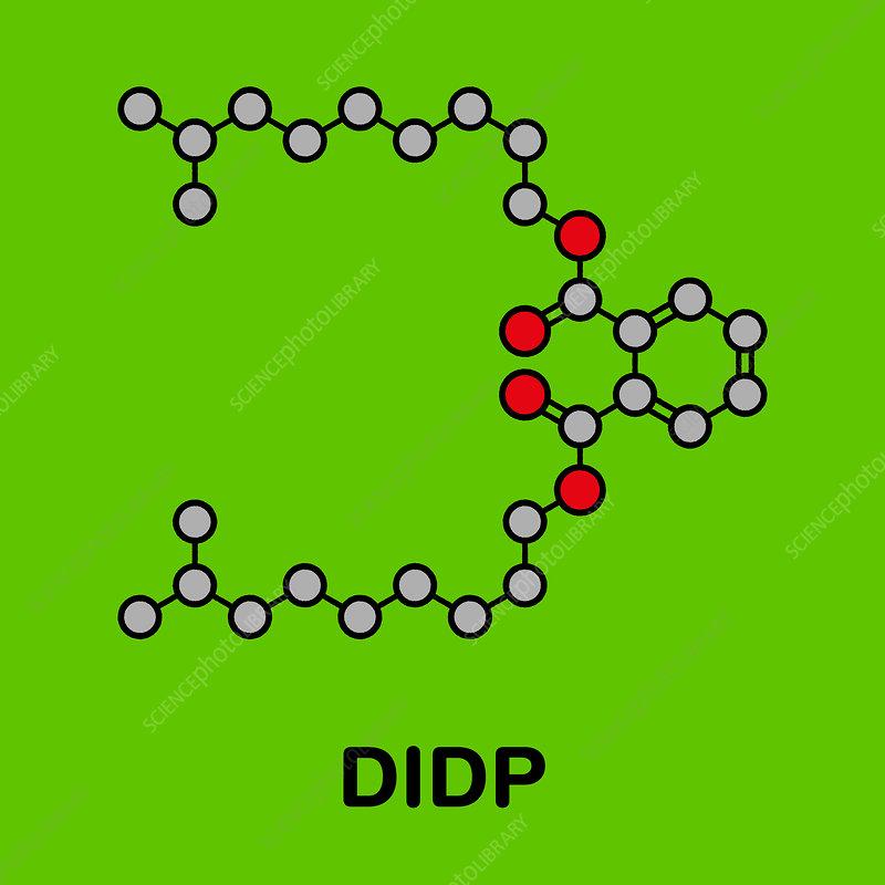 Diisodecyl phthalate plasticizer molecule, illustration
