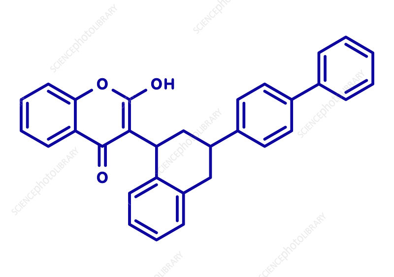 Difenacoum rodenticide molecule, illustration