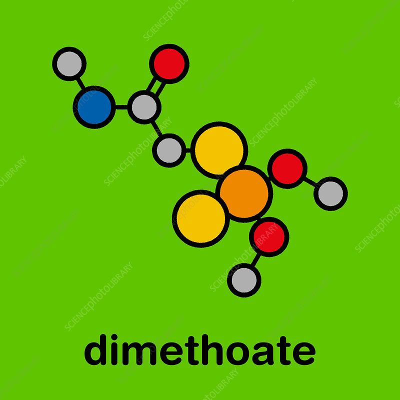 Dimethoate insecticide molecule, illustration
