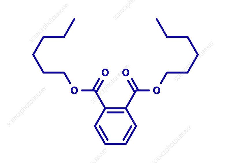 Di-n-hexyl phthalate plasticizer molecule, illustration