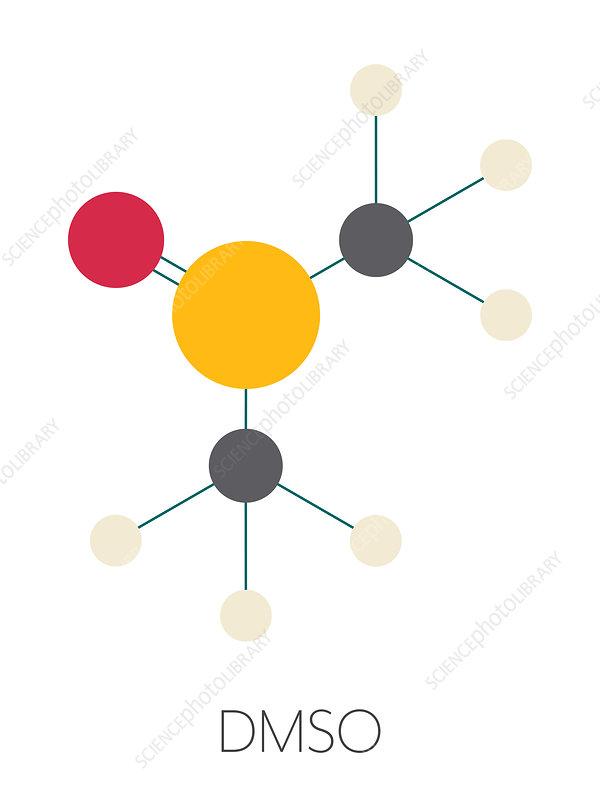 Dimethyl sulfoxide solvent molecule, illustration