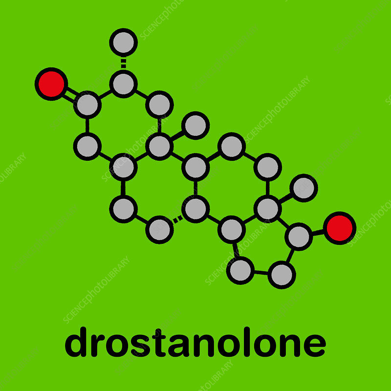 Drostanolone anabolic steroid molecule, illustration