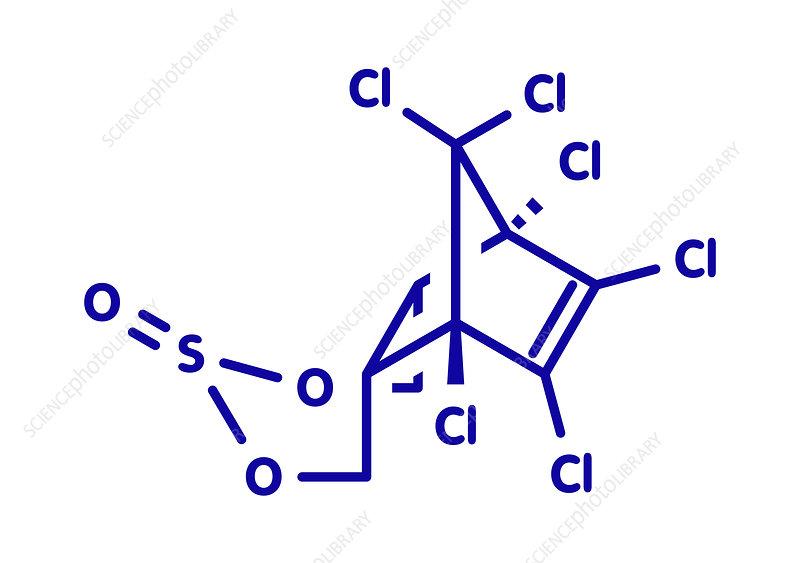 Endosulfan insecticide molecule, illustration