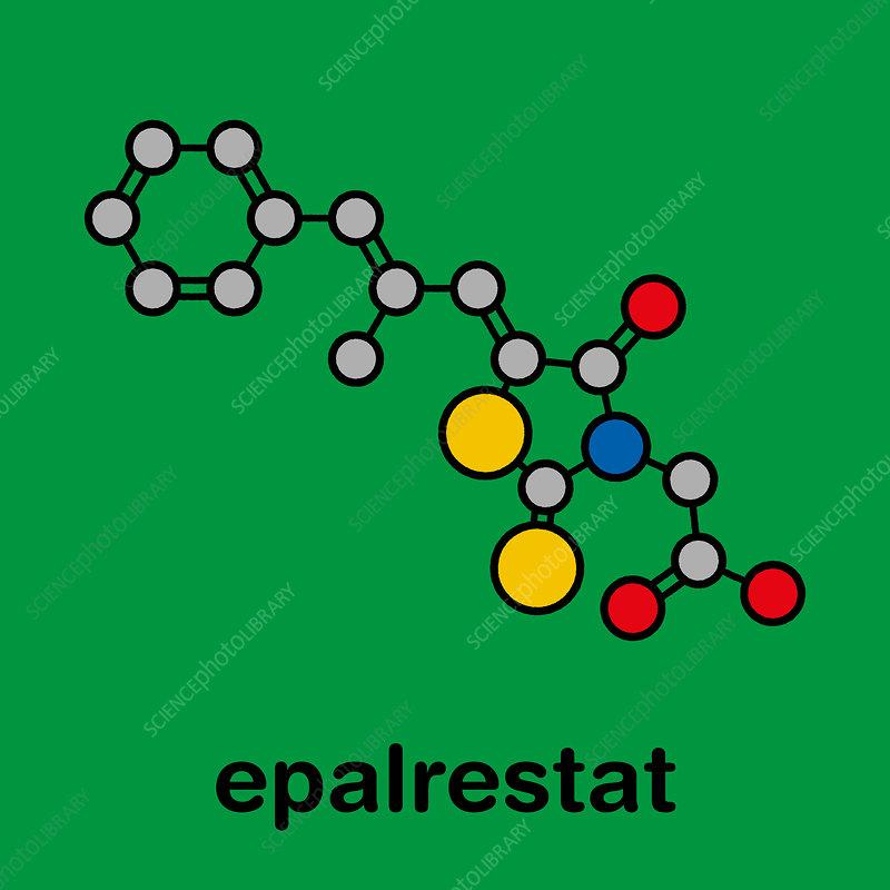 Epalrestat diabetic neuropathy drug molecule, illustration