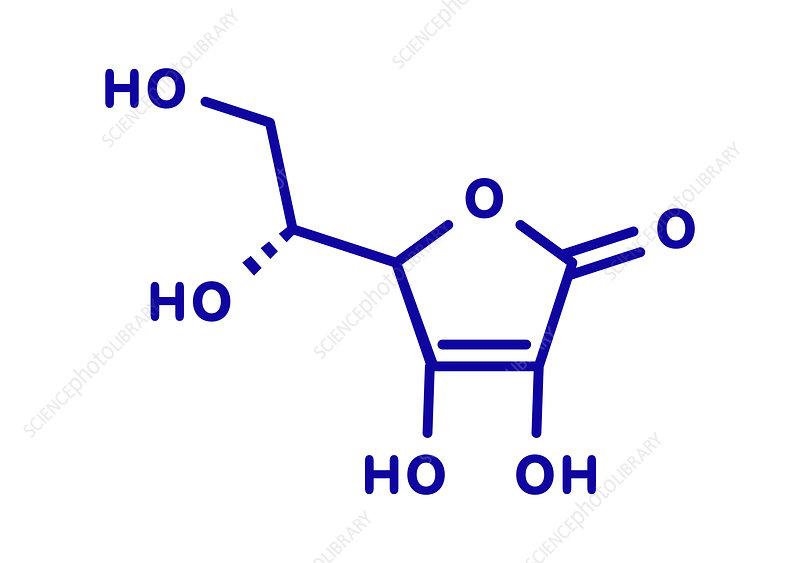 Erythorbic acid food preservative molecule, illustration