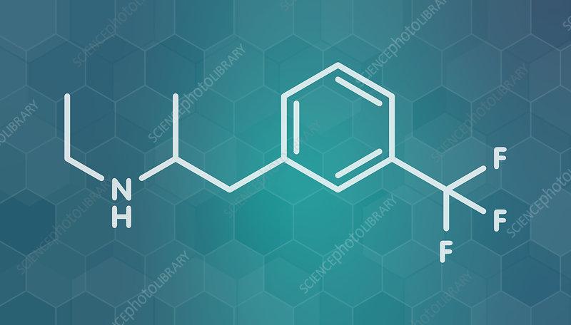 Fenfluramine weight loss drug molecule, illustration