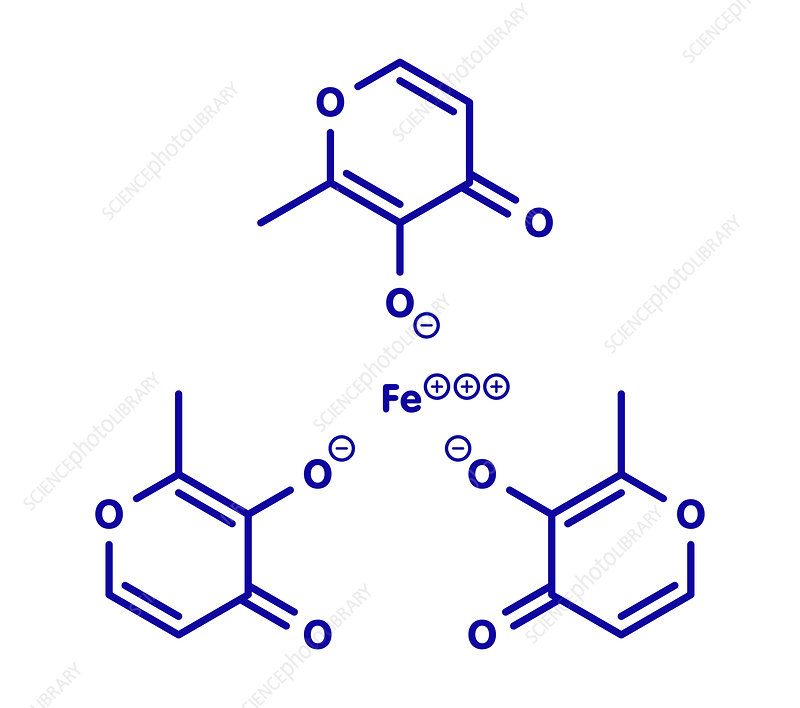 Ferric maltol iron deficiency drug molecule, illustration